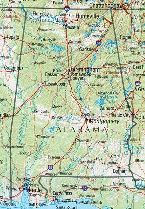 Alabama, maps