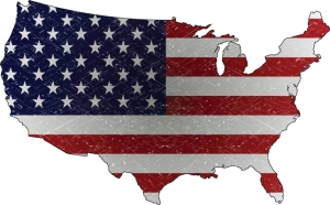 flag, usa map
