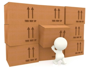 3d person piling up boxes